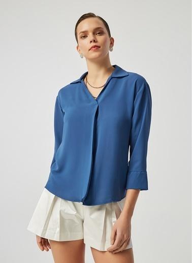 Monamoda Önü Pilikaşe Detaylı Loose Fit Crep Şifon Bluz İndigo